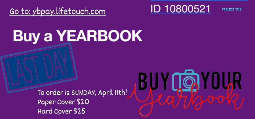 Final day to purchase a MS yearbook is 4/11