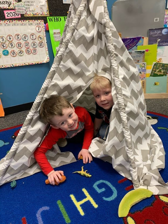 Playing in the Tepee